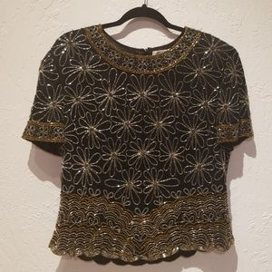 Papell Boutique Tops - Vintage Papell boutique evening sequin top xl